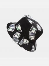 Dollar Pattern Print Hip Hop Versatile Fisherman Cap