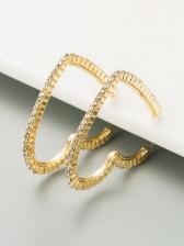 Heart Shape Rhinestone Alloy Material Earrings