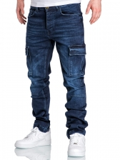 Fashion Solid Ruched Cargo Jeans Men