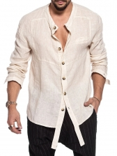 Casual Stand Collar Long Sleeve Shirts