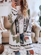 Fashion Loose Print Woolen Cardigan Long Coat