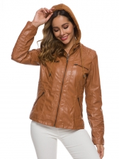 Fashion Pu Zip Up Hoodie Jacket