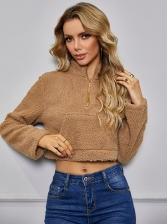 Sexy Cropped Plush Solid Sweatshirt