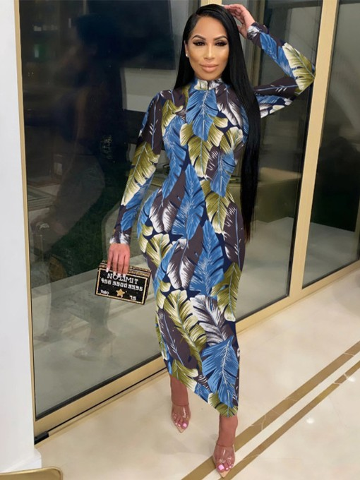 Stand Neck Leaves Print Long Sleeve Maxi Dress
