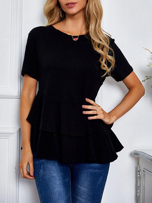 Ruffle Hem Short Sleeve Black T-Shirt For Women