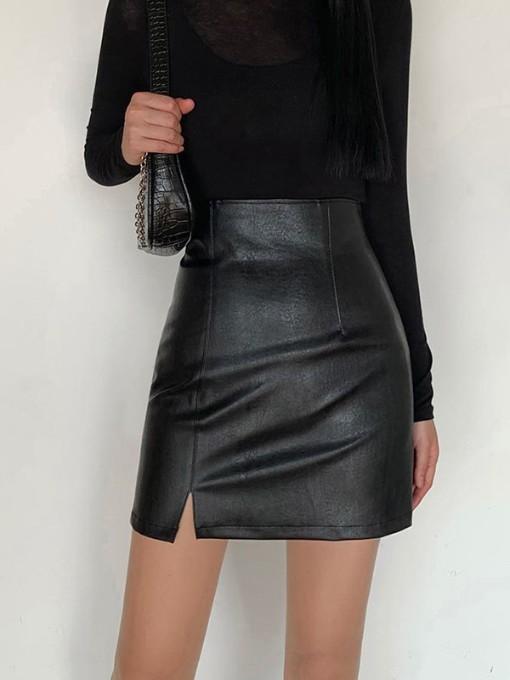 Solid Color Split Hem PU Pencil Skirt