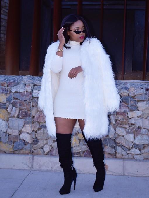 Winter Solid Color Faux Fur Coat