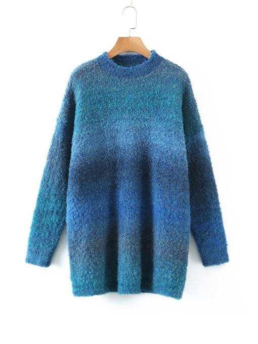 Gradient Color Long Sleeve Crew Neck Sweater