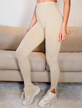 Solid Color Split Hem High Waist Yoga Pants