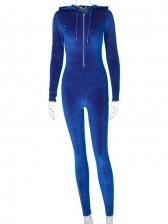 Hooded Collar Glitter Skinny Jumpsuit For Sport