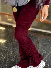 High Elastic Women Velvet Stacked Pants