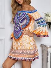 Nation Style Flare Sleeve Print Off Shoulder Dress