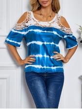 Lace Detail Cold Shoulder Tie Dye T-Shirt