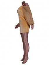 Chic Cold Shoulder Front Zipper Long Sleeve Dress