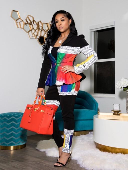 Fashion Colorful Print Two Piece Pants Set