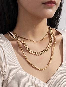 Punk Hip Hop Style Twist Necklace For Women
