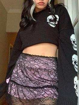 Street Skull Pullover Sweater Autumn