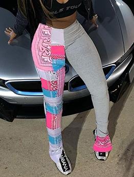 Printed Split Hem Skinny Pants For Women