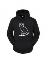 Cartoon Owl Print Loose Hoodie For Men Casual