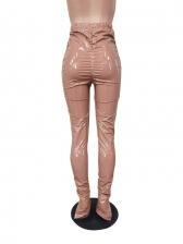 High Waist Ruched Split Hem Women Leather Pants