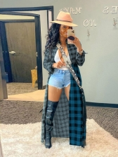 Causal Patchwork Plaid Long Sleeve Womens Coats