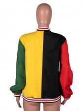 Colorblock Print Baseball Short Coat Plus Size