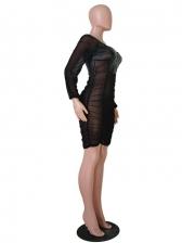 Chiffon Patch Square Neck Women Bodycon Dress