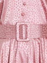 Fashionable Leopard Puff Sleeve Irregular Maxi Dress