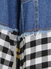 Fashion Contrast Color Plaid Patchwork Denim Jacket