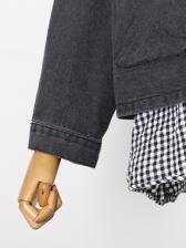 Chic Fake Two-Piece Plaid Patchwork Denim Jacket