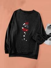 Christmas Printed Long Sleeve Sweatshirt