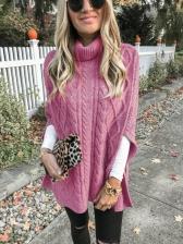 Loose Side Slit Women High Neck Sweater