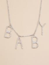 Full Rhinestone Letter Fashion Pendant Necklace