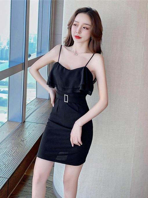 Ruffle Detail Backless Zipper Up Cocktail Dress