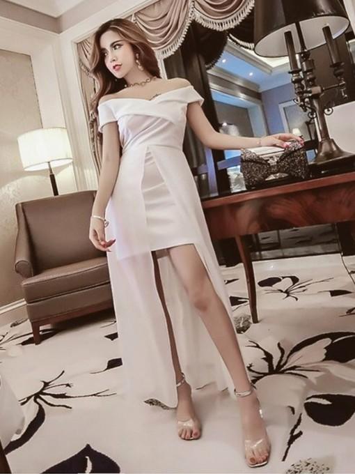 Gauze Patch Off The Shoulder Evening Maxi Dress