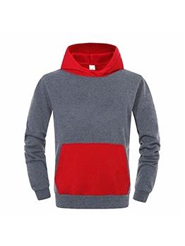 Contrast Color Fleece Winter Hoodie For Men