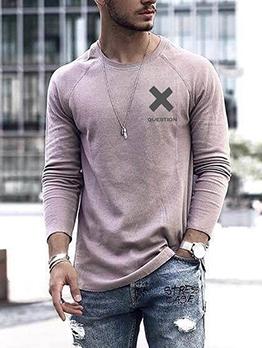 Crew Neck Long Sleeve Loose T-Shirt For Men