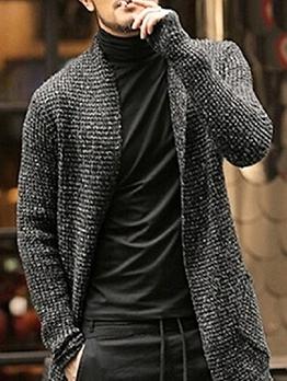 Fashion V Neck Long Knitting Cardigan For Men