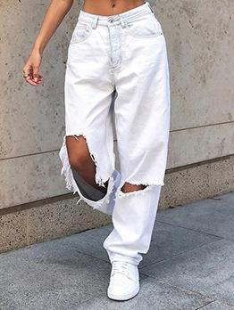 Holes White Ladies Jeans