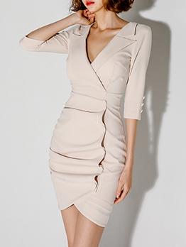 OL Style V Neck Solid Color Slim Ladies Dress