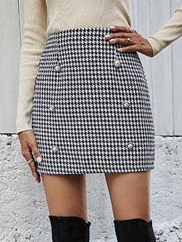 Retro Houndstooth Button Decor Pencil Skirt