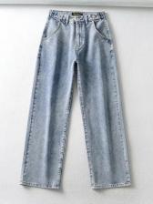 Heart Print High Waist Wide Leg Jeans For Women