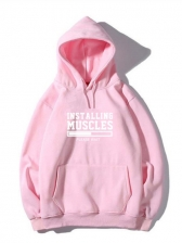 Grunge Style Letter Pullover Hoodie For Men