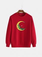 Moon Alien Print Crew Neck Pullover Casual Sweatshirt