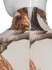 Woods Print High Neck Long Sleeve Bodysuit Jumpsuit