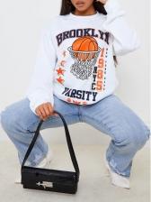 Sporty Printed Crew Neck Sweatshirts For Women