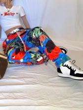 Multicolored Printed Drawstring Jogger Pants