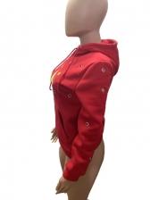 Printed Holes Fleece Lined Pullover Hoodie