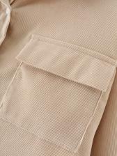 Chest Pocket Corduroy Long Sleeve Blouse