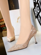 Euro Sequined Pointed Toe Party Heels For Women
